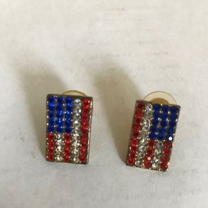 American Flag Earrings Red Blue Clear Crystals VTG